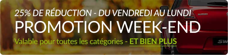 Promotion week-end 25% de réduction