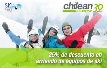 25% de descuento en arriendo de equipos de ski